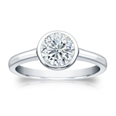 Certified Platinum Bezel Round Diamond Solitaire Ring 1.00 ct. tw. (I-J, I1-I2)
