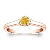 Certified 14k Rose Gold Bezel Round Yellow Diamond Ring 0.25 ct. tw. (Yellow, SI1-SI2)