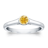 Certified 14k White Gold Bezel Round Yellow Diamond Ring 0.25 ct. tw. (Yellow, SI1-SI2)
