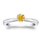 Certified 14k White Gold 4-Prong Yellow Diamond Solitaire Ring 0.33 ct. tw. (Yellow, SI1-SI2)