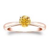 Certified 14k Rose Gold 4-Prong Yellow Diamond Solitaire Ring 0.50 ct. tw. (Yellow, SI1-SI2)