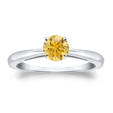 Certified Platinum 4-Prong Yellow Diamond Solitaire Ring 0.50 ct. tw. (Yellow, SI1-SI2)