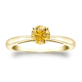 Certified 18k Yellow Gold 4-Prong Yellow Diamond Solitaire Ring 0.50 ct. tw. (Yellow, SI1-SI2)