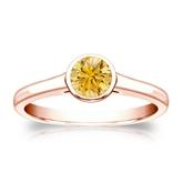 Certified 14k Rose Gold Bezel Round Yellow Diamond Ring 0.50 ct. tw. (Yellow, SI1-SI2)