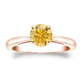 Certified 14k Rose Gold 4-Prong Yellow Diamond Solitaire Ring 0.75 ct. tw. (Yellow, SI1-SI2)