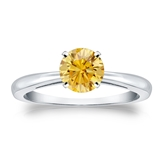 Certified 14k White Gold 4-Prong Yellow Diamond Solitaire Ring 0.75 ct. tw. (Yellow, SI1-SI2)
