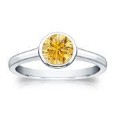 Certified Platinum Bezel Round Yellow Diamond Ring 0.75 ct. tw. (Yellow, SI1-SI2)