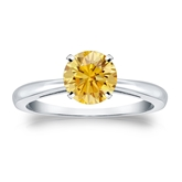 Certified 18k White Gold 4-Prong Yellow Diamond Solitaire Ring 1.00 ct. tw. (Yellow, SI1-SI2)