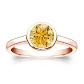 Certified 14k Rose Gold Bezel Round Yellow Diamond Ring 1.00 ct. tw. (Yellow, SI1-SI2)