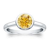 Certified Platinum Bezel Round Yellow Diamond Ring 1.00 ct. tw. (Yellow, SI1-SI2)