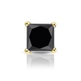 Certified 18k Yellow Gold 4-Prong Basket Princess Black Diamond Single Stud Earring1.50 ct. tw.
