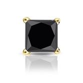 Certified 18k Yellow Gold 4-Prong Basket Princess Black Diamond Single Stud Earring 2.00 ct. tw.