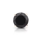 Certified 14k Rose Gold 4-Prong Basket Round Black Diamond Single Stud Earring1.00 ct. tw.