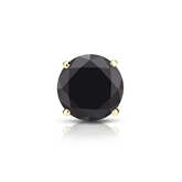 Certified 18k Yellow Gold 4-Prong Basket Round Black Diamond Single Stud Earring1.00 ct. tw.