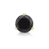 Certified 14k Yellow Gold 3-Prong Martini Round Black Diamond Single Stud Earring1.00 ct. tw.