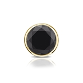 Certified 14k Yellow Gold Bezel Round Black Diamond Single Stud Earring1.00 ct. tw.