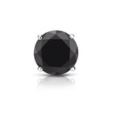 Certified 14k White Gold 4-Prong Basket Round Black Diamond Single Stud Earring1.25 ct. tw.