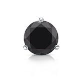 Certified Platinum 3-Prong Martini Round Black Diamond Single Stud Earring1.50 ct. tw.