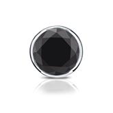 Certified Platinum Bezel Round Black Diamond Single Stud Earring1.50 ct. tw.