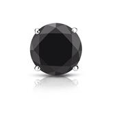 Certified 14k White Gold 4-Prong Basket Round Black Diamond Single Stud Earring 2.00 ct. tw.