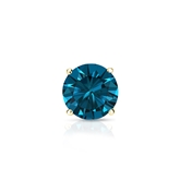 Certified 14k Yellow Gold 4-Prong Basket Round Blue Diamond Single Stud Earring 0.50 ct. tw. (Blue, SI1-SI2)