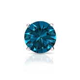 Certified 18k White Gold 4-Prong Basket Round Blue Diamond Single Stud Earring 1.00 ct. tw. (Blue, SI1-SI2)