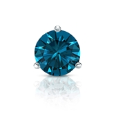 Certified 18k White Gold 3-Prong Martini Round Blue Diamond Single Stud Earring 1.00 ct. tw. (Blue, SI1-SI2)