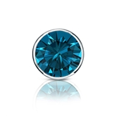 Certified Platinum Bezel Round Blue Diamond Single Stud Earring 1.00 ct. tw. (Blue, SI1-SI2)