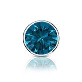 Certified 14k White Gold Bezel Round Blue Diamond Single Stud Earring 1.00 ct. tw. (Blue, SI1-SI2)