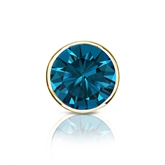 Certified 18k Yellow Gold Bezel Round Blue Diamond Single Stud Earring 1.00 ct. tw. (Blue, SI1-SI2)
