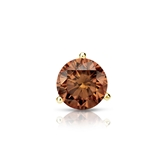 Certified 18k Yellow Gold 3-Prong Martini Round Brown Diamond Single Stud Earring 0.50 ct. tw. (Brown, SI1-SI2)