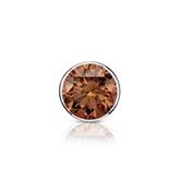 Certified Platinum Bezel Round Brown Diamond Single Stud Earring 0.50 ct. tw. (Brown, SI1-SI2)