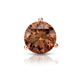 Certified 14k Rose Gold 3-Prong Martini Round Brown Diamond Single Stud Earring 1.00 ct. tw. (Brown, SI1-SI2)