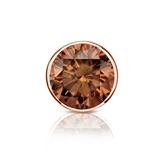 Certified 14k Rose Gold Bezel Round Brown Diamond Single Stud Earring 1.00 ct. tw. (Brown, SI1-SI2)