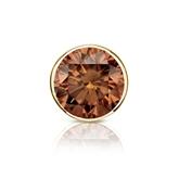 Certified 18k Yellow Gold Bezel Round Brown Diamond Single Stud Earring 1.50 ct. tw. (Brown, SI1-SI2)
