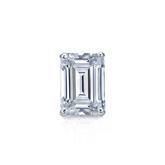 Certified 14k White Gold 4-Prong Basket Emerald Cut Diamond Single Stud Earring 0.50 ct. tw. (H-I, SI1-SI2)