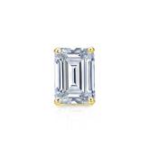 Certified 18k Yellow Gold 4-Prong Basket Emerald Cut Diamond Single Stud Earring 0.50 ct. tw. (I-J, I1-I2)