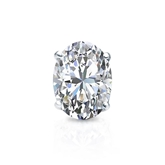 Certified 18k White Gold 4-Prong Basket Oval Diamond Single Stud Earring 1.50 ct. tw. (I-J, I1-I2)