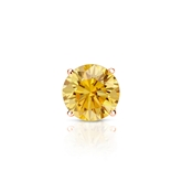 Certified 14k Rose Gold 4-Prong Basket Round Yellow Diamond Single Stud Earring 0.50 ct. tw. (Yellow, SI1-SI2)