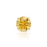 Certified 14k Rose Gold 4-Prong Basket Round Yellow Diamond Single Stud Earring 0.50 ct. tw. (Yellow, SI1-SI2)