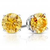 Certified 18k White Gold 4-Prong Basket Round Yellow Diamond Stud Earrings 2.50 ct. tw. (Yellow, SI1-SI2)