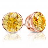 Certified 14k Rose Gold Bezel Round Yellow Diamond Stud Earrings 2.00 ct. tw. (Yellow, SI1-SI2)