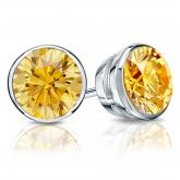 Certified 18k White Gold Bezel Round Yellow Diamond Stud Earrings 2.00 ct. tw. (Yellow, SI1-SI2)