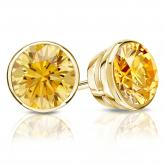 Certified 14k Yellow Gold Bezel Round Yellow Diamond Stud Earrings 2.00 ct. tw. (Yellow, SI1-SI2)