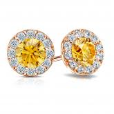 Certified 14k Rose Gold Halo Round Yellow Diamond Stud Earrings 3.00 ct. tw. (Yellow, SI1-SI2)